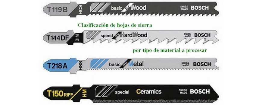 Clasificación de hojas de sierra para sierra de calar por tipo de material a procesar.